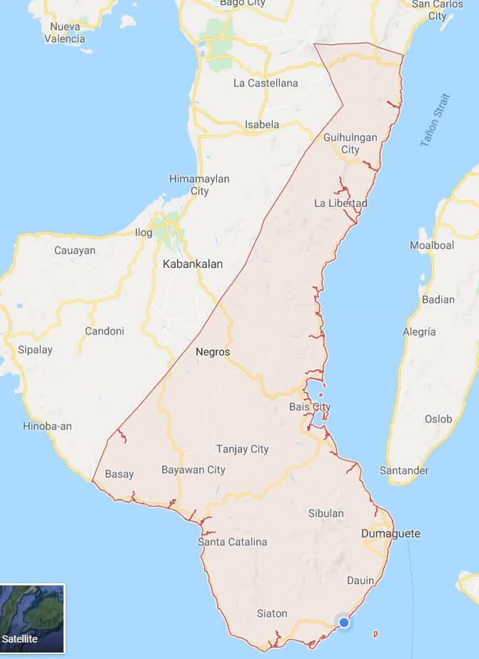 Map of Negros Oriental